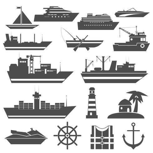 Schiffssymbol schwarz vektor