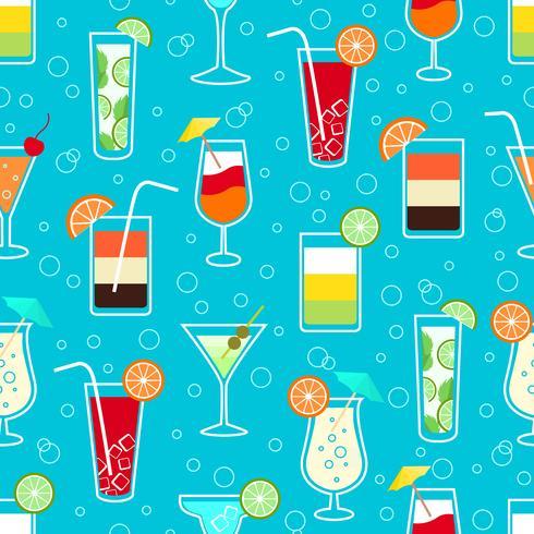 Seamless mönster med alkohol cocktaildrycker vektor
