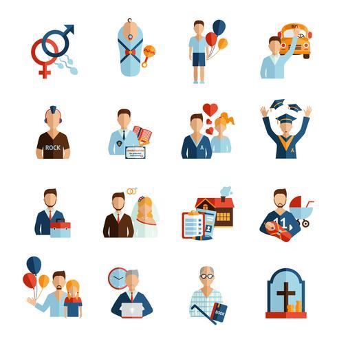 ikoner för livssteg ikoner vektor