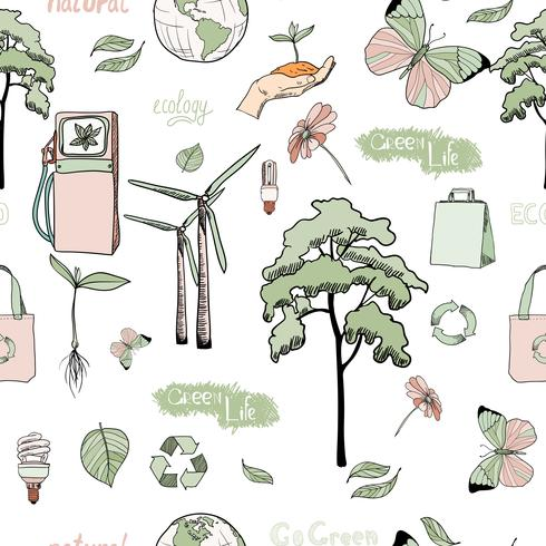 Doodles ekologi och energi sömlöst mönster vektor