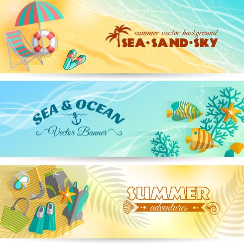 Sommerferien-Ferienfahnen eingestellt vektor