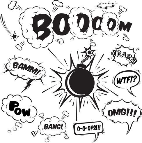 Comic speech bubbles designelement samling vektor