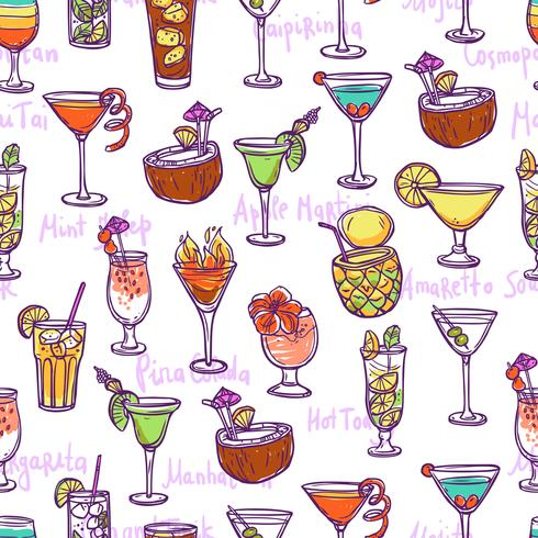 Cocktail sömlös mönster vektor