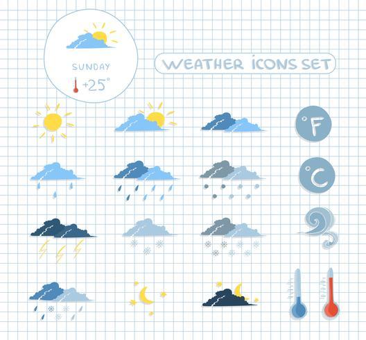 Väderprognosikoner inställda vektor