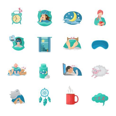 Schlafzeit flache Icons Set vektor