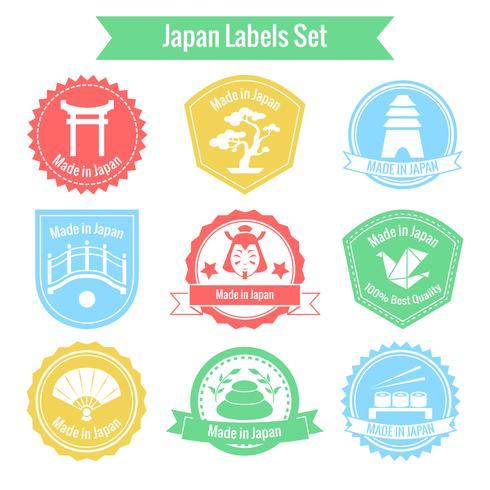 Tillverkad i Japan etikettuppsättning vektor