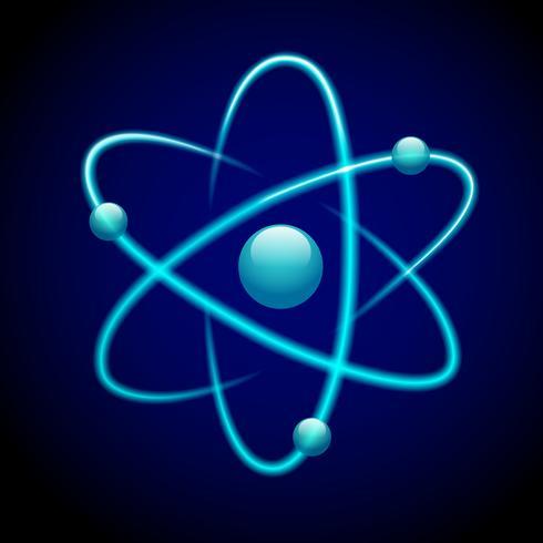 Atom symbol 3d blå vektor