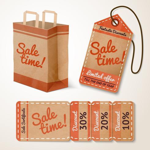 Försäljningsartiklar kartonguppsättning vektor