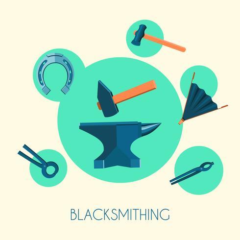 Blacksmiths grundläggande symbolemblemsaffisch vektor