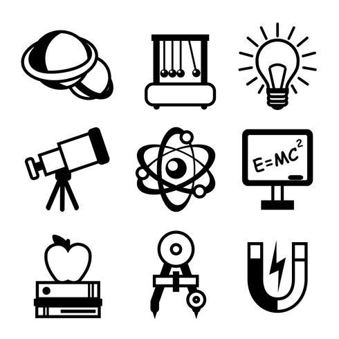 Fysik vetenskap ikoner vektor