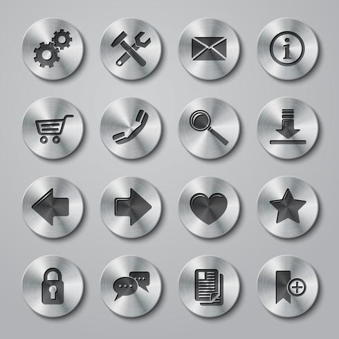 Website-Icons aus Metall vektor