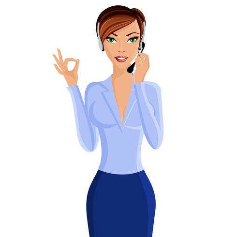Ung kvinna call center operatör vektor