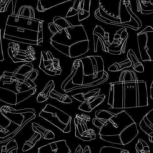 Nahtlose Skizze der Mode der Frau Mode vektor