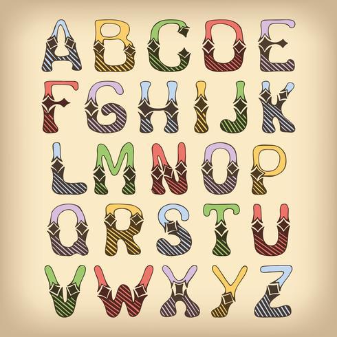 Skiss alfabetet teckensnitt färgat vektor
