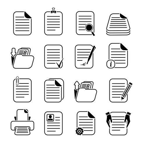 Dokumentdateien und Ordner-Icons Set vektor