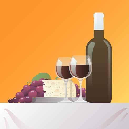 Vin och ost Stilleben vektor