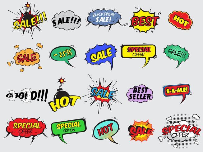 komisk försäljning explosion ikoner vektor