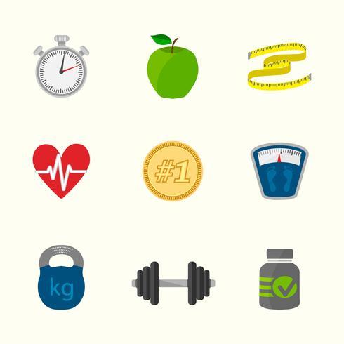 Fitness ikoner set vektor