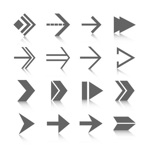 Pilsymbolsikoner inställda vektor