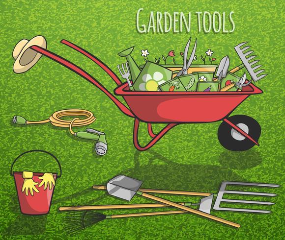 Trädgårdsredskap konceptaffisch vektor
