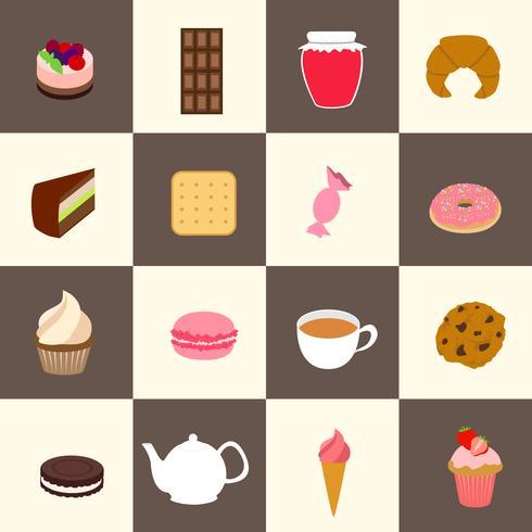 Süßigkeiten Icons Set vektor