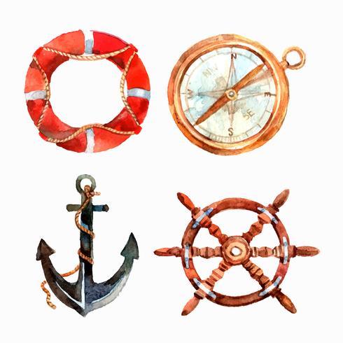 Akvarell Nautical Set vektor