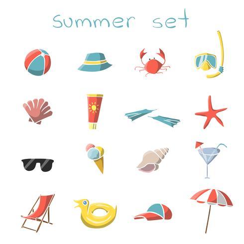 Sommar semester rese ikoner uppsättning vektor