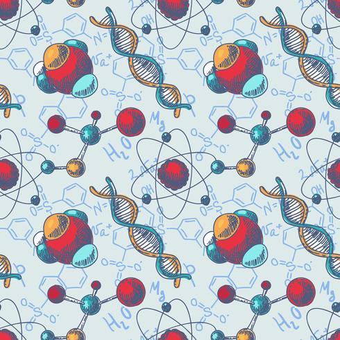 Kemi sömlöst DNA molekylmönster vektor