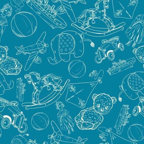 Leksaker skissar blått sömlöst mönster vektor
