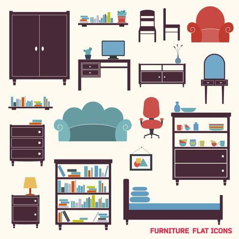Möbler ikoner platt vektor