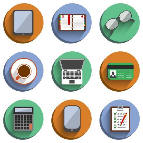 Business Set Arbeitsplatz Icons vektor