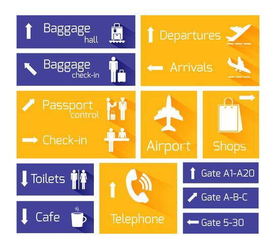 Infographic-Gestaltungselemente der Flughafennavigation vektor