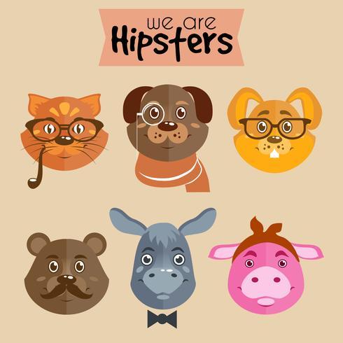 Samling av hipster tecknade karaktärsdjur vektor