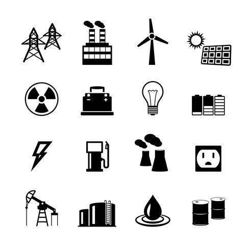 Sammlung von Energiepiktogrammen vektor