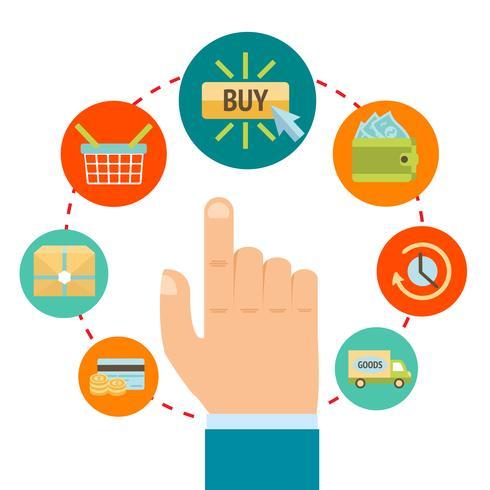 Hand mit on-line-Einkaufenikonen vektor