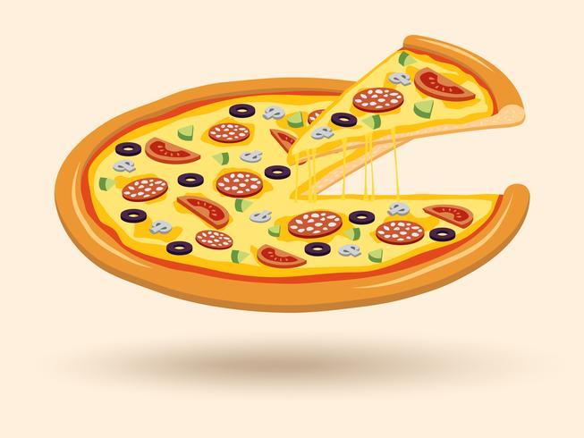 Köttost pizza symbol vektor