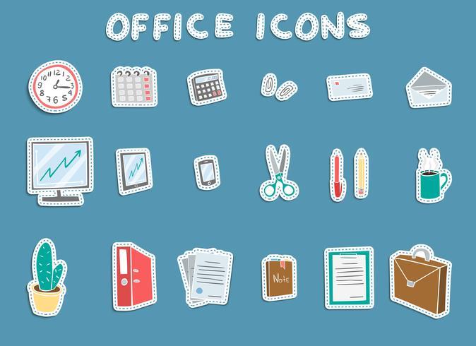 Kontorsklistermärke ikoner uppsättning vektor