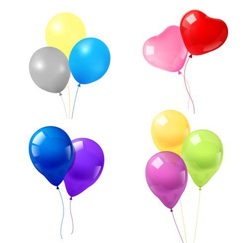 Färgglada ballonger ikoner komposition vektor