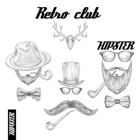 Retro hipsterklubbtillbehör vektor