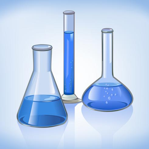 Blaues Laborflascheglaswarensymbol vektor