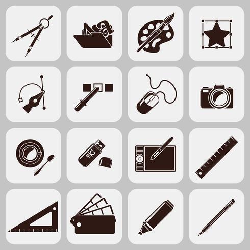 Designerverktyg Svarta ikoner vektor