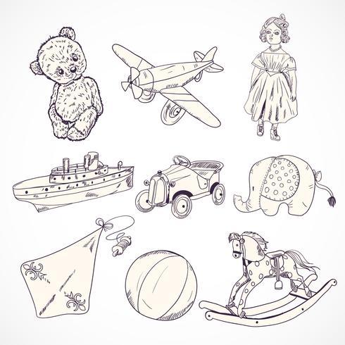 Leksaker skissera ikoner uppsättning vektor