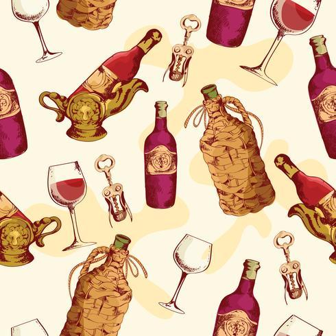 Wein nahtlose Muster vektor