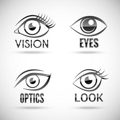 Ställ in ögon ikoner vektor