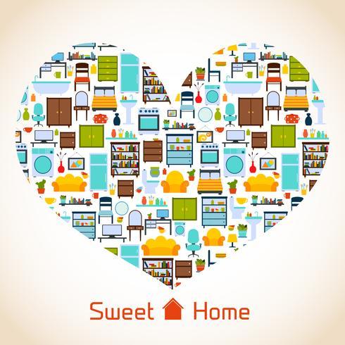 Süßes Zuhause Herzkonzept vektor