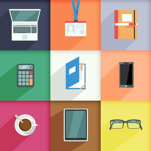 Arbeitsplatz Business Icons Set vektor