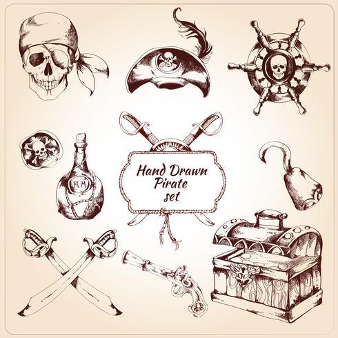 Dekorative Ikonen der Piraten eingestellt vektor