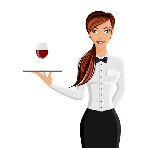 Kvinna servitör porträtt vektor