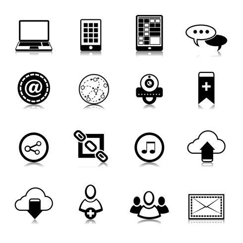 Sociala medier ikoner uppsättning vektor