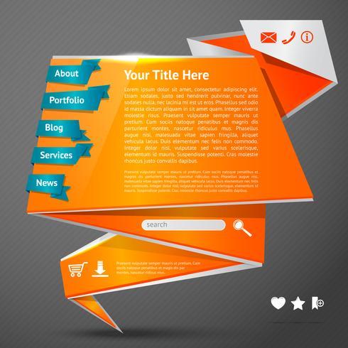 Origami webbplats mall vektor